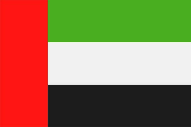 birleşik arap emirlikleri - bayrak vektör düz simgesi - abu dhabi stock illustrations