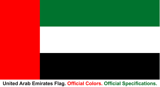 United Arab Emirates Flag (Official Colors, Official Specifications)