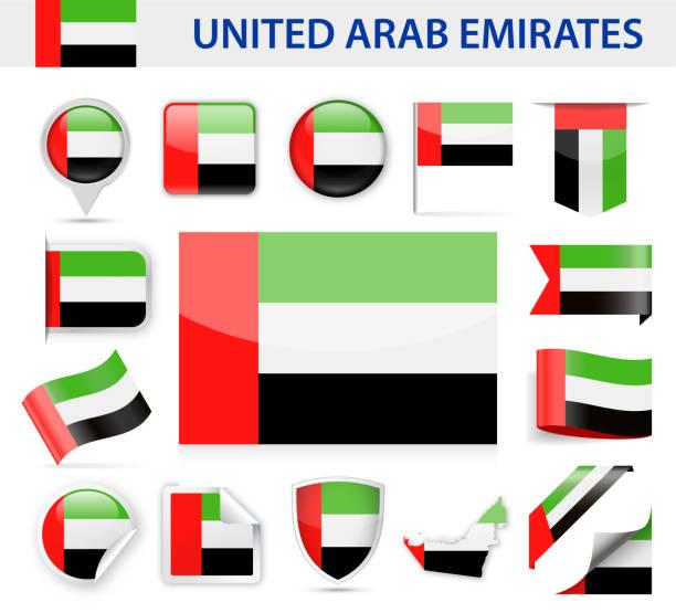 阿拉伯聯合大公國旗幟向量集 - uae flag 幅插畫檔、美工圖案、卡通及圖標