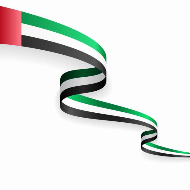 阿拉伯聯合大公國國旗波浪抽象背景。向量插圖。 - uae flag 幅插畫檔、美工圖案、卡通及圖標