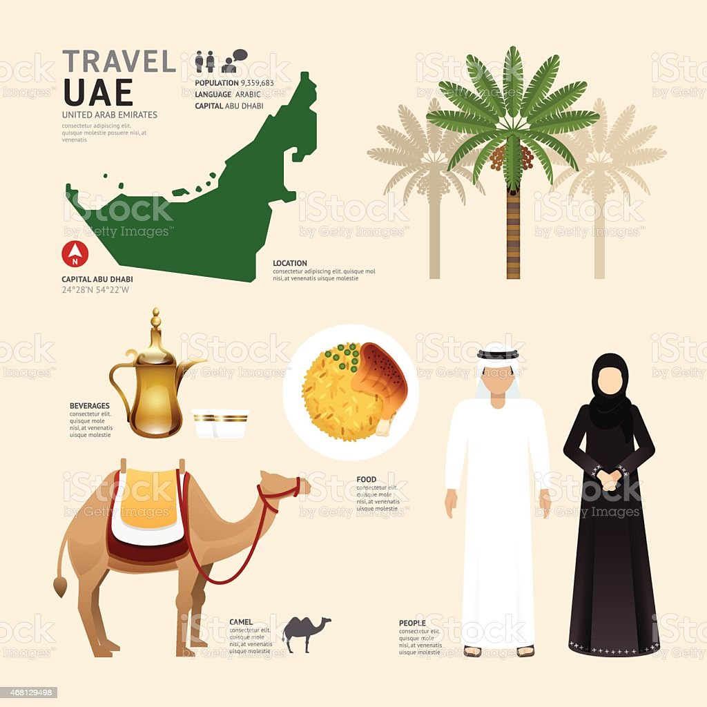 UAE United Arab Emirates Flat Icons Design Travel Concept.Vector vector art illustration