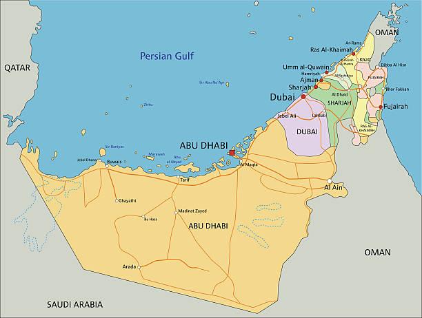 ilustraciones, imágenes clip art, dibujos animados e iconos de stock de emiratos árabes unidos-altamente detallados editable mapa político - mapa de oriente medio