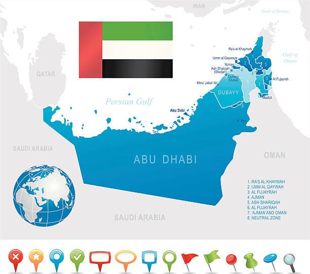 zjednoczone emiraty arabskie-bardzo szczegółową mapę - oman stock illustrations
