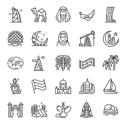 United arab emirates, icon set. Traditions, landmark, clothing, buildings, linear icons. Editable stroke