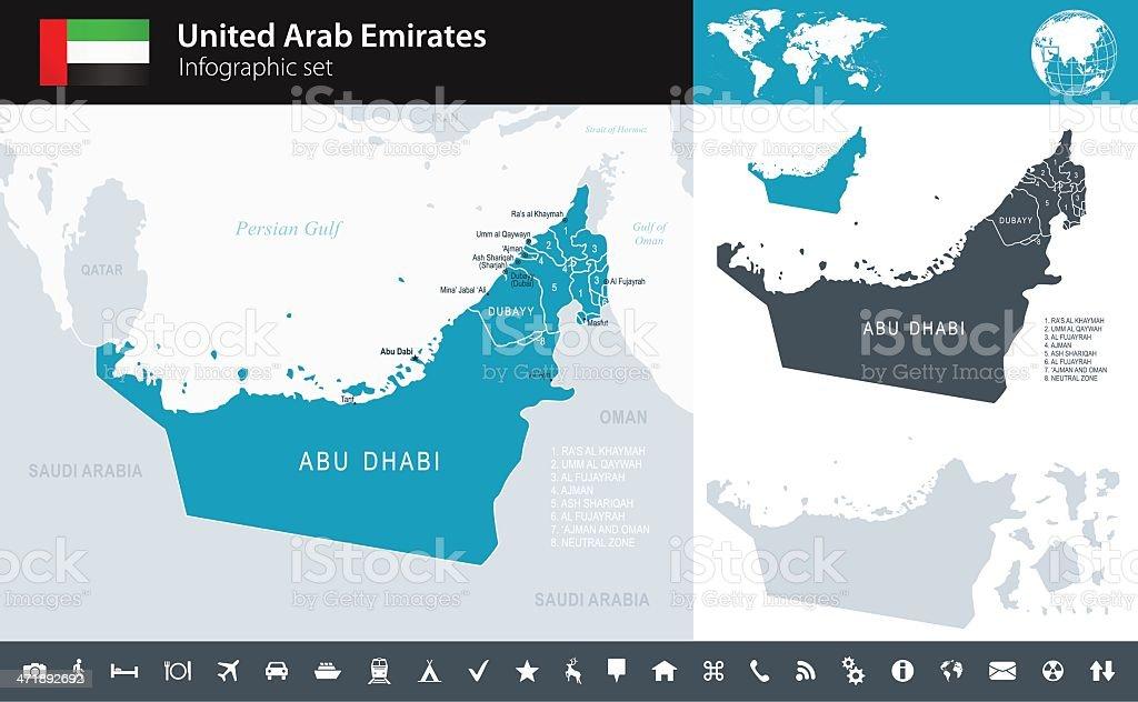United Arab Emirates Infographic Map Illustration Stock Vector Art ...