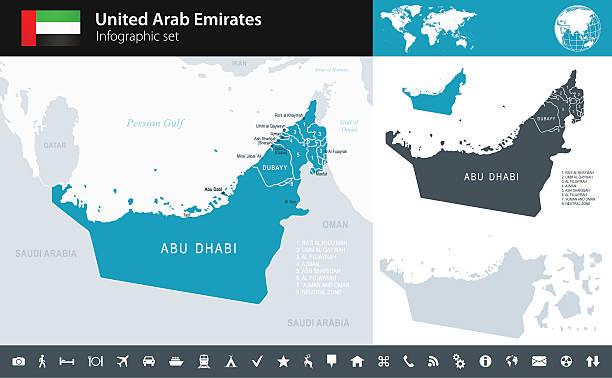 zjednoczone emiraty arabskie-infographic-ilustracja mapa - abu dhabi stock illustrations