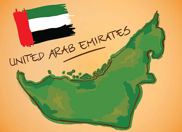 ilustraciones, imágenes clip art, dibujos animados e iconos de stock de emiratos árabes unidos mapa del vector y la bandera nacional - mapa de oriente medio