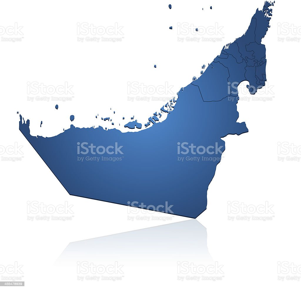 United Arab Emirates map blue royalty-free stock vector art