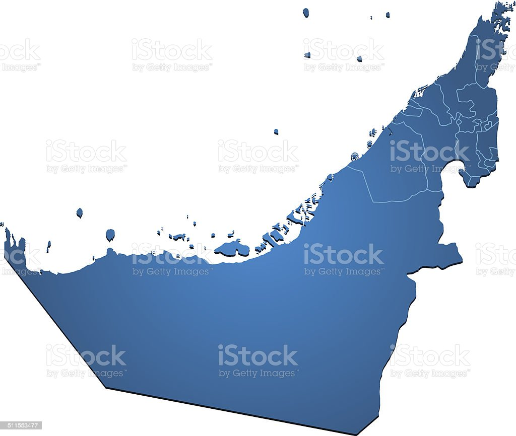 United Arab Emirates map blue vector art illustration