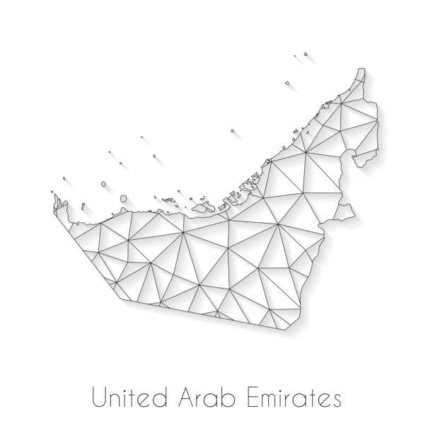 birleşik arap emirlikleri harita bağlantısı - beyaz arka plan daki ağ örgü - abu dhabi stock illustrations
