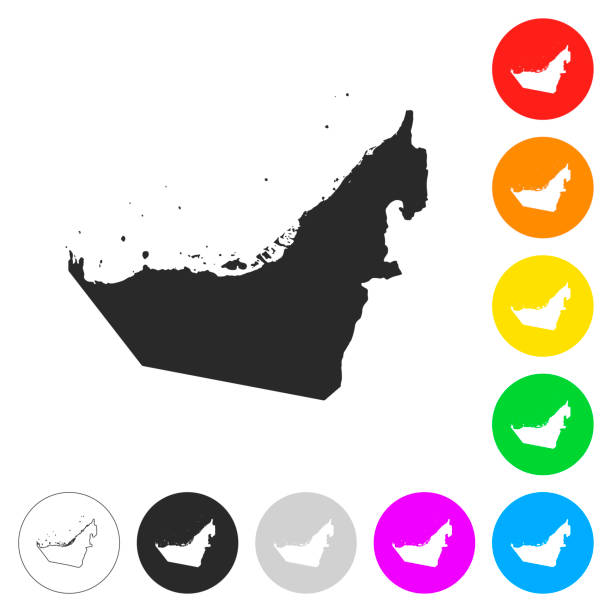 united arab emirates map - flat icons on different color buttons - abu dhabi stock illustrations