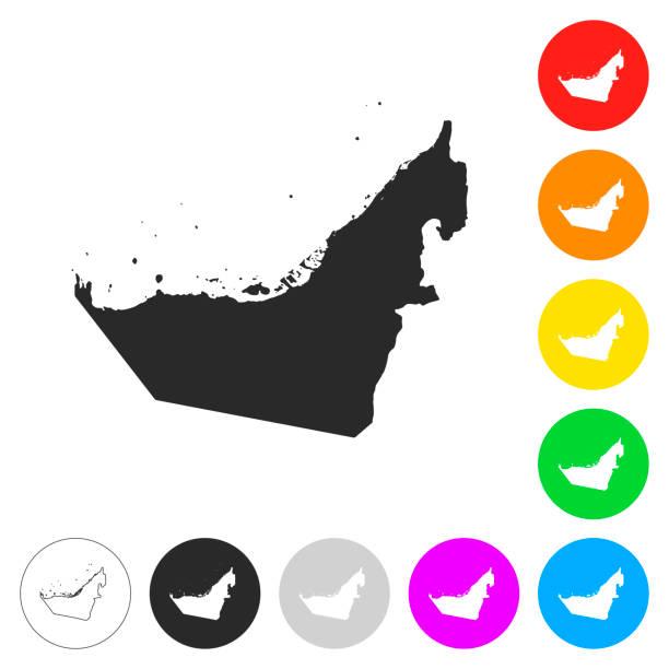 birleşik arap emirlikleri harita - düz simgeler farklı renk düğmeleri - abu dhabi stock illustrations