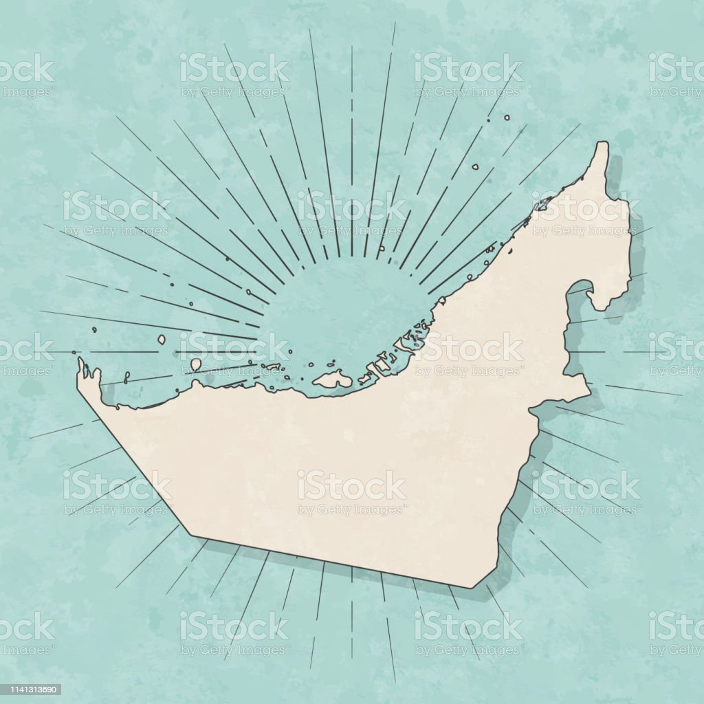 Map of United Arab Emirates in a trendy vintage style. Beautiful...