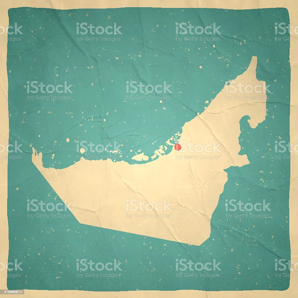 united arab emirates map on old paper vintage texture royalty free united arab emirates