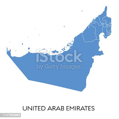 Vector illustration of the map of United Arab Emirates