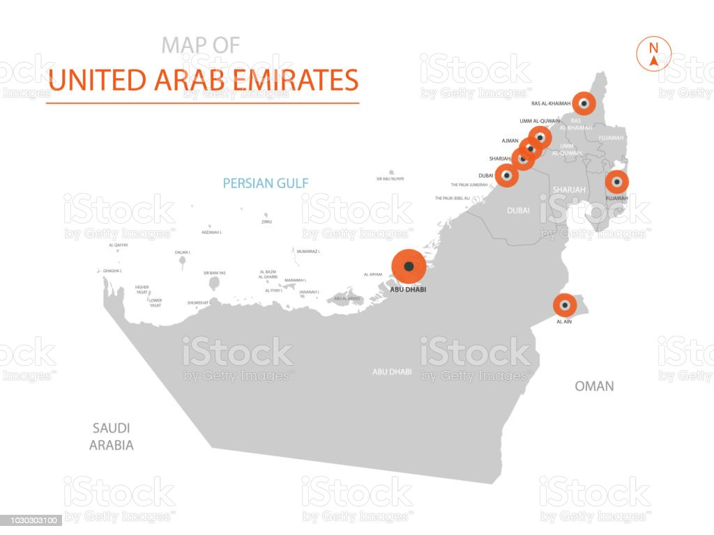 United Arab Emirates map with administrative divisions. vector art illustration