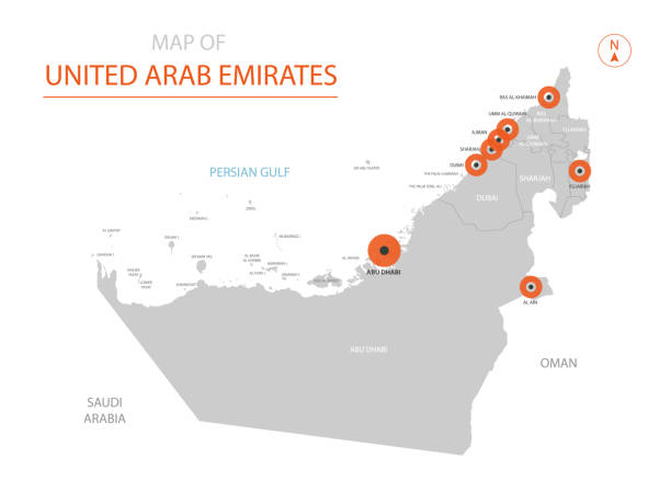 united arab emirates map with administrative divisions. - abu dhabi stock illustrations