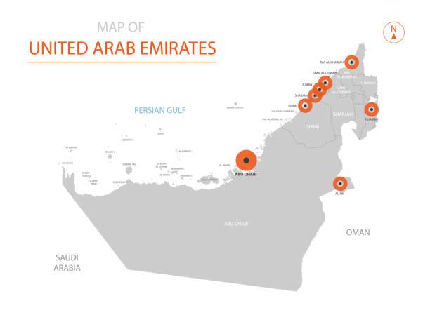 birleşik arap emirlikleri harita yönetim birimleri ile. - abu dhabi stock illustrations