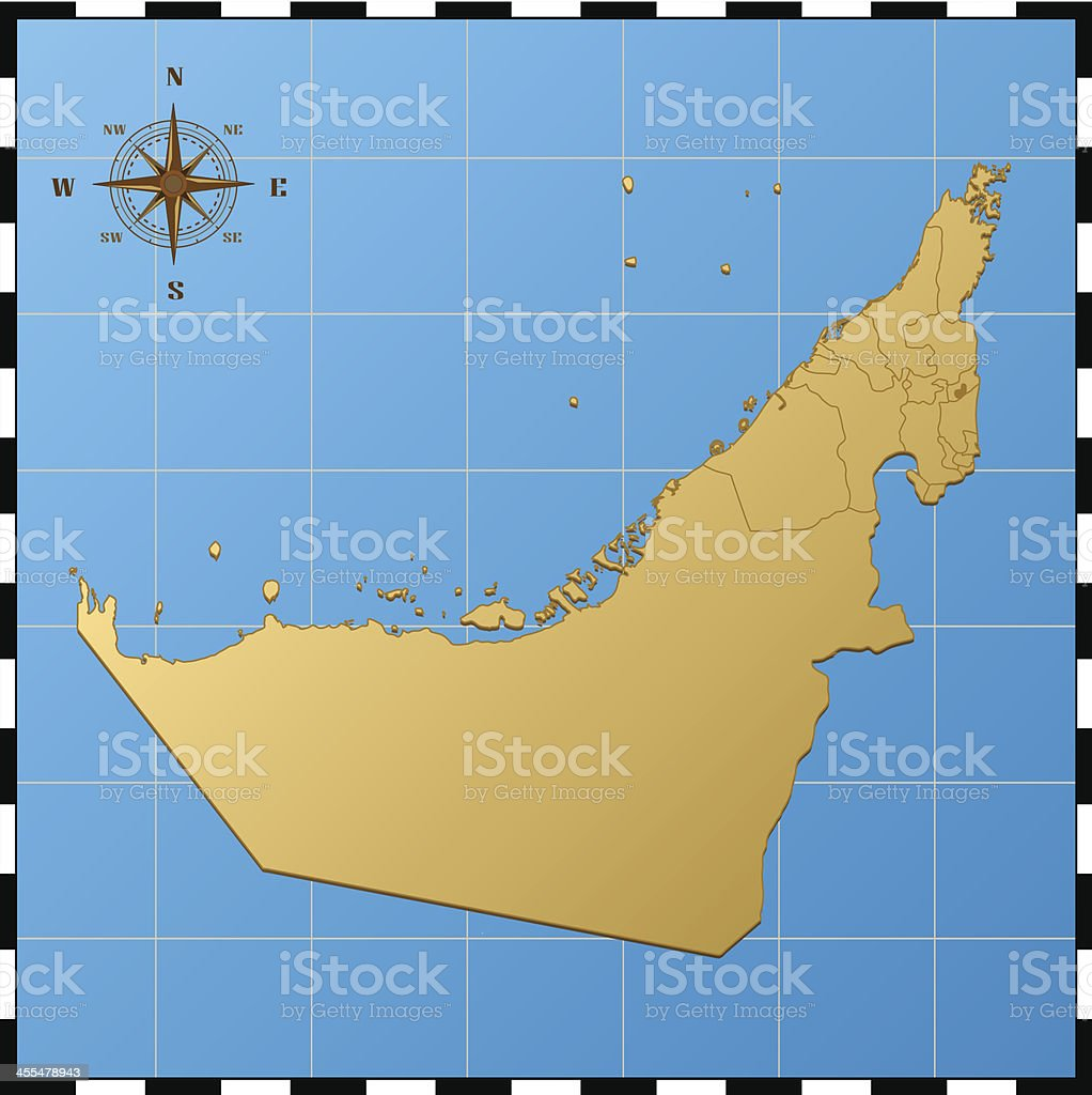 United Arab Emirates map with compass rose royalty-free stock vector art