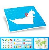 Map of United Arab Emirates with design elements, isolated on white background.
