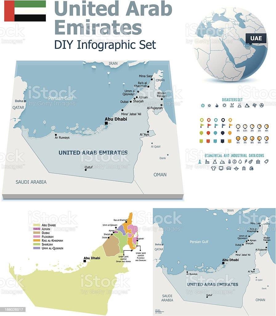 United Arab Emirates maps with markers vector art illustration