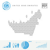 United Arab Emirates People Icon Map. People Crowd in the Shape of a Map of UAE. Stylized Silhouette of UAE. Population Growth and Aging Infographic Elements. Vector Illustration Isolated on White.