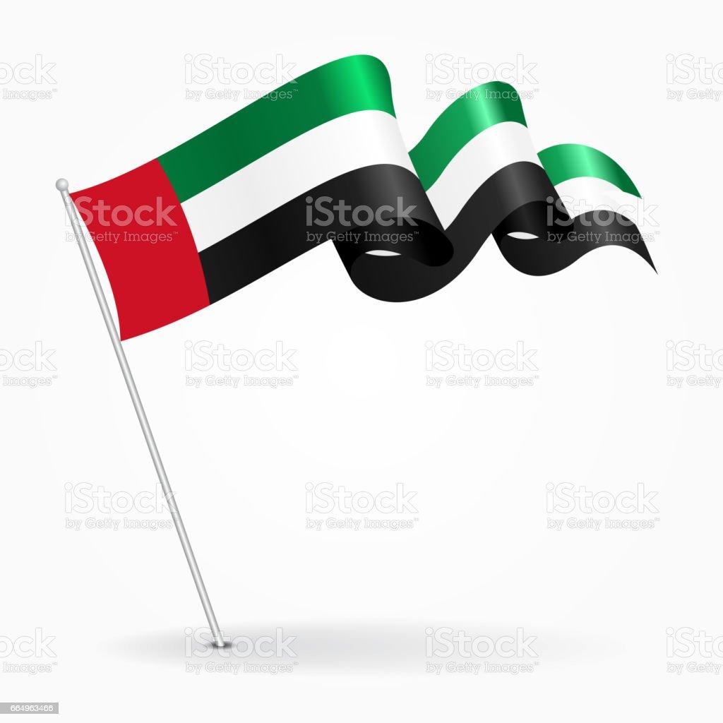 阿拉伯聯合大公國針波浪旗。向量圖。 - 免版稅三角旗圖庫向量圖形