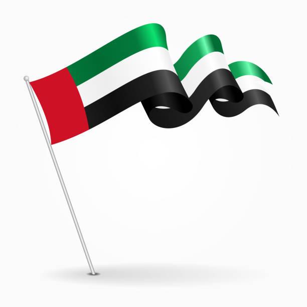 阿拉伯聯合大公國針波浪旗。向量圖。 - uae flag 幅插畫檔、美工圖案、卡通及圖標