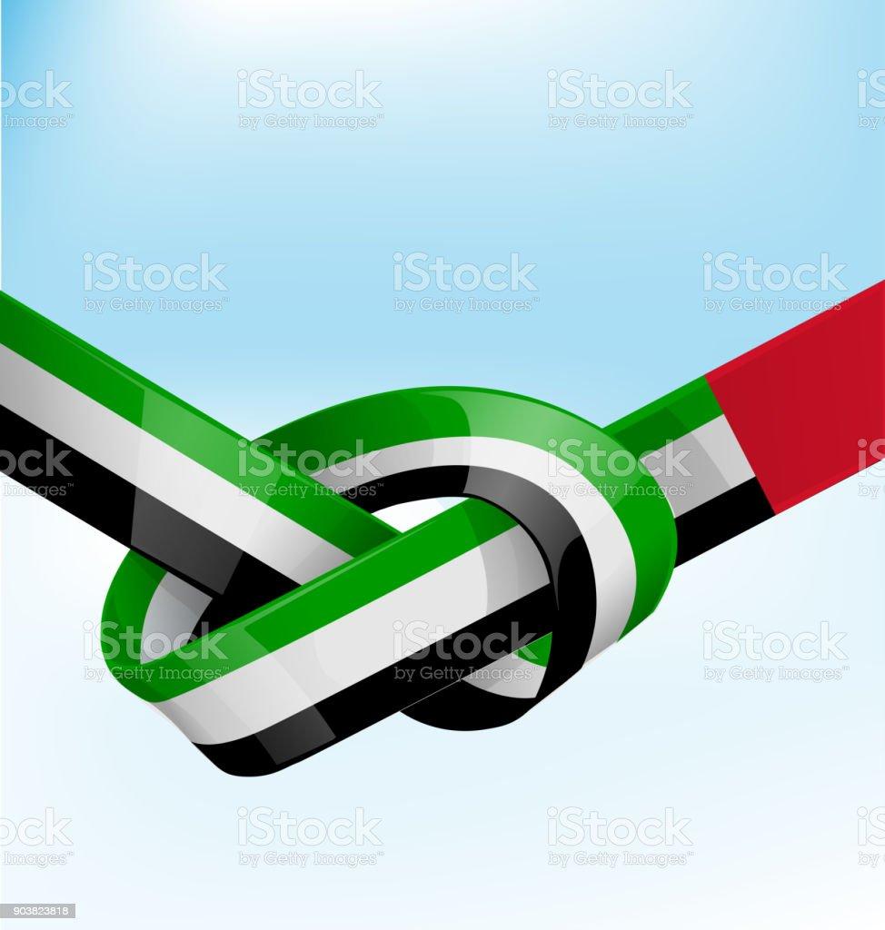 united arab emirates ribbon flag on bue sky background vector art illustration