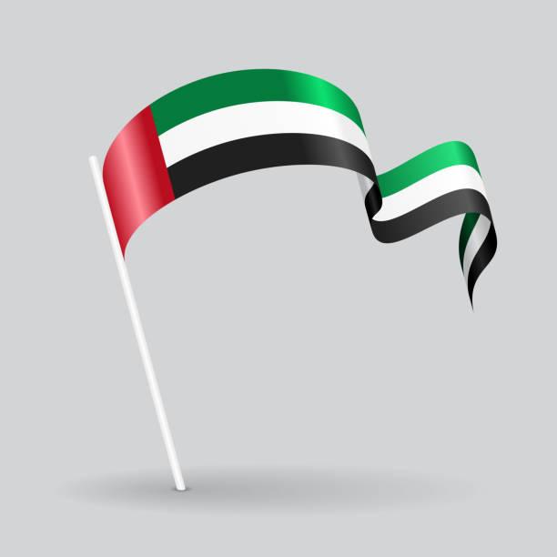 united arab emirates wavy flag. vector illustration. - uae flag 幅插畫檔、美工圖案、卡通及圖標