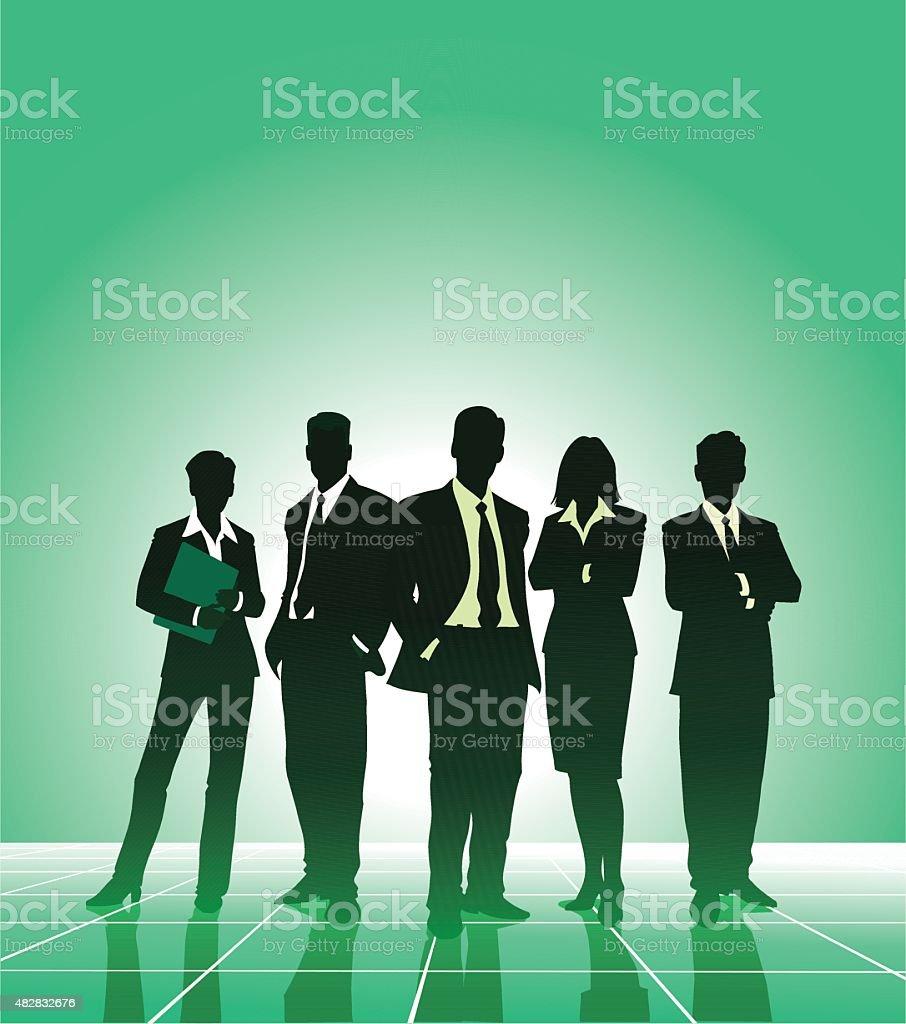 United Business Team - Businessmen and Businesswomen vector art illustration
