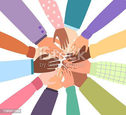 United community of the world. Different nationalities together for teamwork, unity or diversity. Vector isolated hands, hearts. Flat illustration