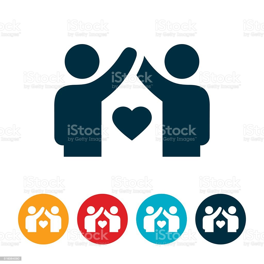 United Couple Icon vector art illustration