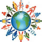 The people of earth united around the world.  Symbol of peace and harmony.