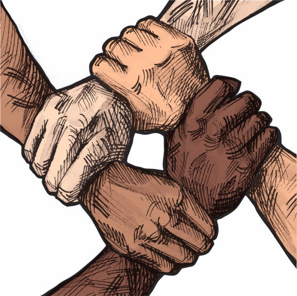 United hands business team concept United hands together hand drawn ink illustration. Hand coordination, international multiracial, mixed race people hands holding each other in unity. Business group collaboration. Team concept. labor union stock illustrations