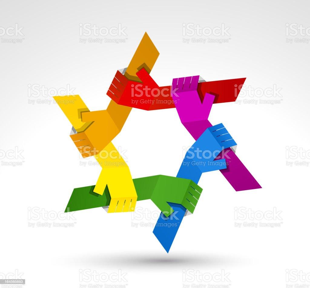 United hands. Conceptual symbol royalty-free stock vector art
