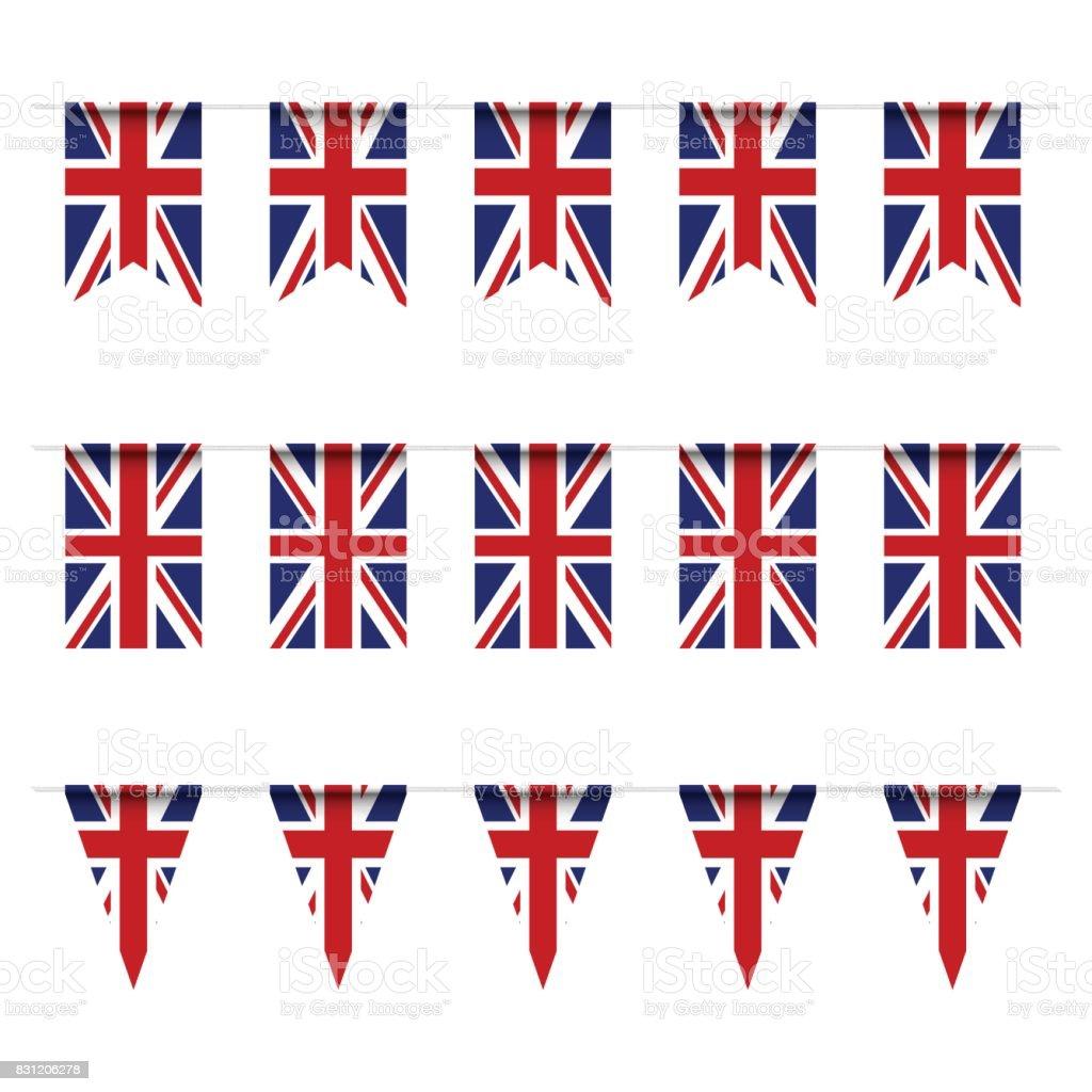 Bandeira de Reino unida bunting - ilustração de arte em vetor