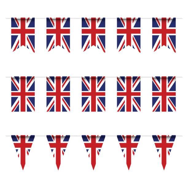 united kindom flag bunting - uk flag stock illustrations, clip art, cartoons, & icons