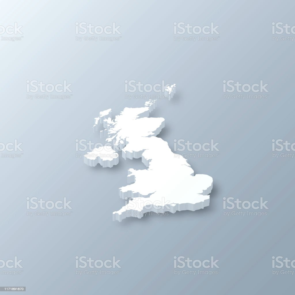 United Kingdom 3D Map on gray background - Royalty-free Abstract stock vector