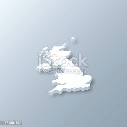 3D map of United Kingdom isolated on a blank and gray background, with a dropshadow. Vector Illustration (EPS10, well layered and grouped). Easy to edit, manipulate, resize or colorize.