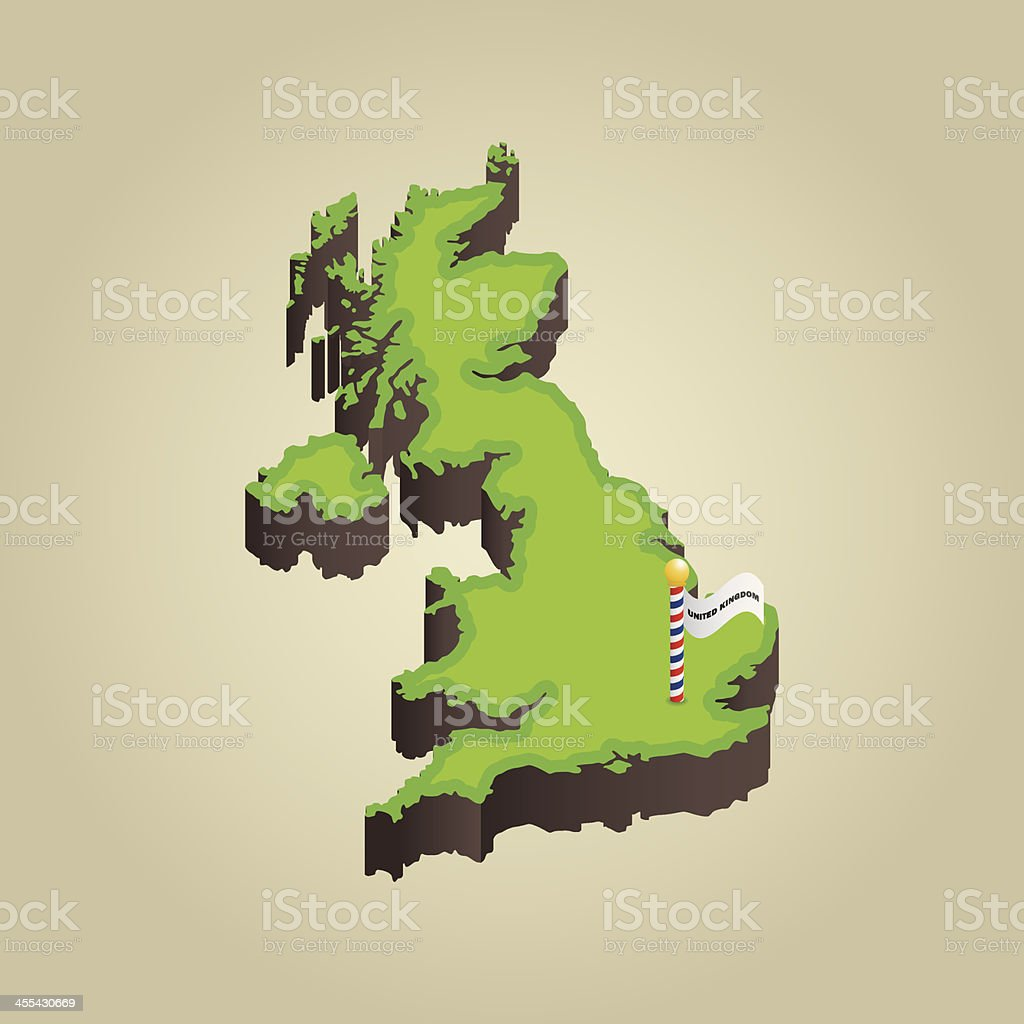 United Kingdom 3D Map vector art illustration