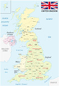 united kingdom administrative and political vector map with flag