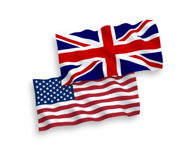 united kingdom and american flags - культура великобритании stock illustrations