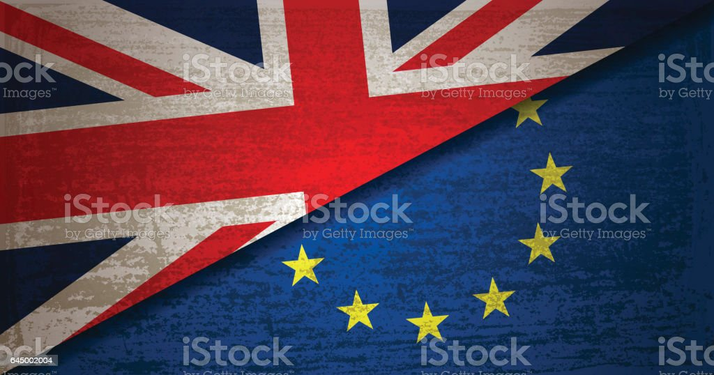 United Kingdom and European Union Flag with grunge texture background vector art illustration