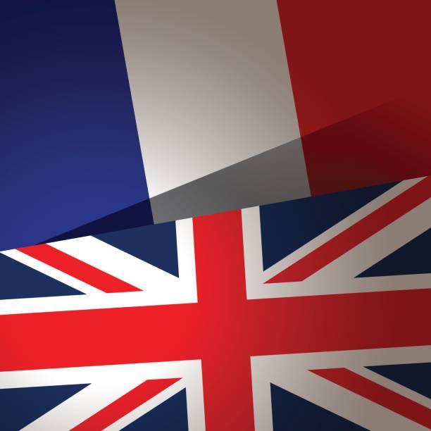 イギリスとフランスの旗の背景 - イギリスの国旗点のイラスト素材/クリップアート素材/マンガ素材/アイコン素材