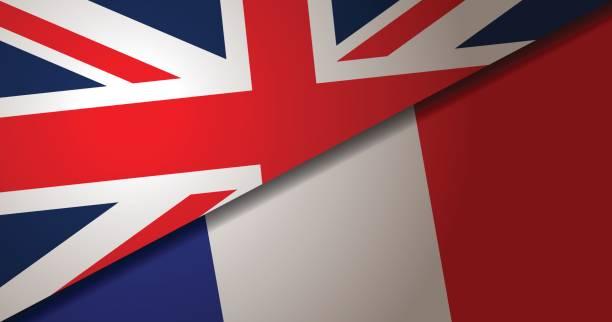 イギリスとフランスの旗の背景 - ユニオンジャックの国旗点のイラスト素材/クリップアート素材/マンガ素材/アイコン素材