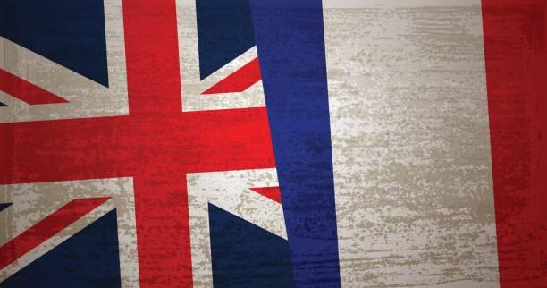 イギリス、グランジ テクスチャ背景を持つフランスの旗 - イギリスの国旗点のイラスト素材/クリップアート素材/マンガ素材/アイコン素材