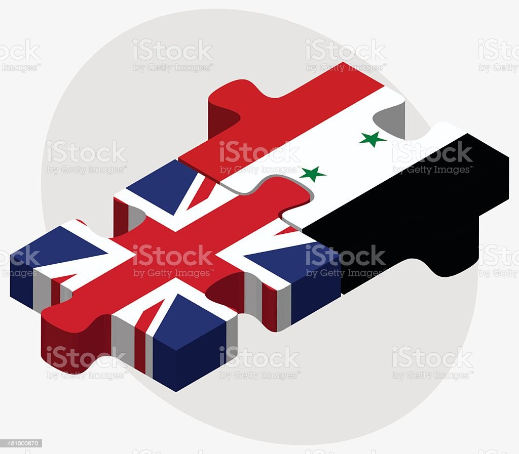 United Kingdom and Syria Flags vector art illustration