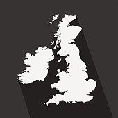 United Kingdom black and white map on background