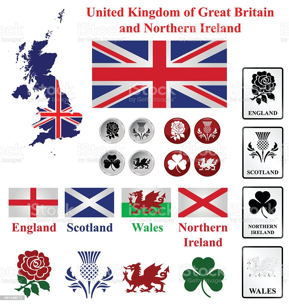 United Kingdom collection vector art illustration